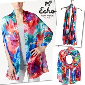 🆕 ECHO WATERCOLOR FLORAL OBLONG WRAP SCARF